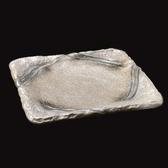 日本陶瓷【萬古燒】淺褐色大方盤 方形大盤子30CM 乳白10號 正角皿 盛鉢 手工陶盤