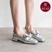 中大尺碼女鞋 方頭蝴蝶結低跟包鞋/樂福鞋 40-45碼 172巷鞋舖【ZX888-2】