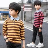 童裝男童長袖t恤秋裝新款條紋上衣正韓大童polo衫兒童體恤潮 免運快出
