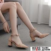 法式單鞋女中跟粗跟新款小高跟尖頭百搭仙女風蝴蝶結淑女鞋子【邦邦男裝】