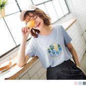《AB6526》高含棉多肉植物燙印圖短袖上衣 OrangeBear