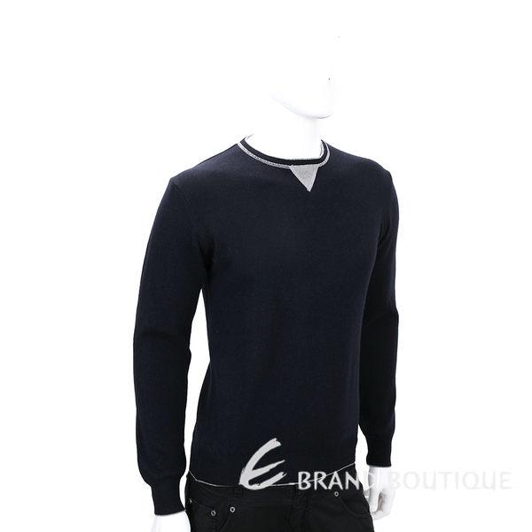 FRADI 黑夜藍色肘拼接設計羊毛長袖上衣 1540395-34