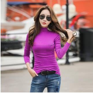 時尚穿搭內搭衫S-XL/6924半高領高彈輕薄零壓迫春秋新款純打底衫長袖女T卹NE02胖胖唯依