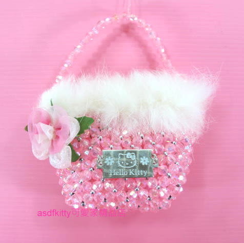asdfkitty可愛家☆展示品出清-kitty迷你串珠小手提包/裝飾品(不含糖果)
