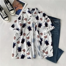 港味小熊印花短袖學生襯衫女韓版夏季小眾設計感半袖百搭襯衣上衣