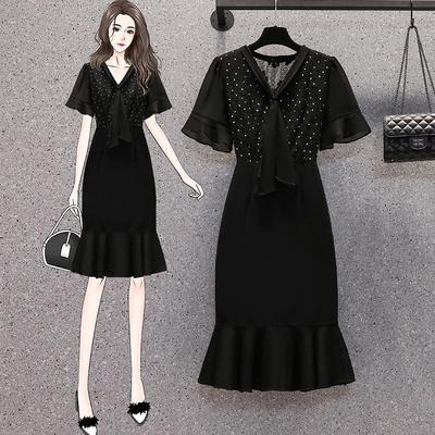 L-5XL胖妹妹大碼洋裝連身裙~大碼女裝蕾絲拼接中長款魚尾連身裙R030B愛尚布衣