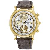 【台南 時代鐘錶 SEIKO】精工 限量 SPL060P1 航海30周年 羅馬字 皮革錶帶 三眼男錶 5T82-0AL0K 白 40mm
