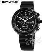 ISSEY MIYAKE 三宅一生 / VK67-0030SD.SILAZ001Y / TRAPEZOID系列 梯形設計 三眼計時 不鏽鋼手錶 鍍黑 43mm