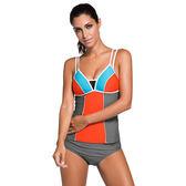 泳裝 比基尼 泳衣 色塊 拼接 交叉帶 個性 露肩 兩件套 細肩帶 泳裝 L-2XL【LC41961】 ENTER  05/31
