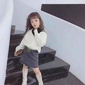 女童毛衣白色秋冬韓版加厚半高領女孩針織打底套頭假兩件學院