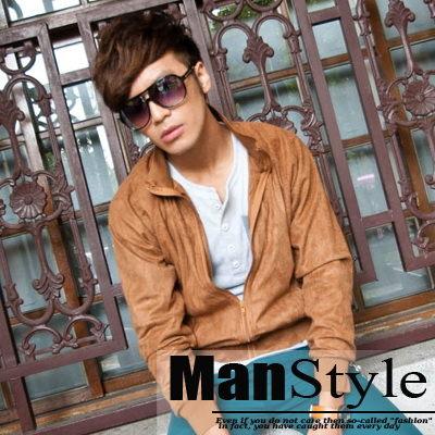 皮外套ManStyle潮流嚴選高質感麂皮羅紋束口長袖外套薄外套【01F1172】