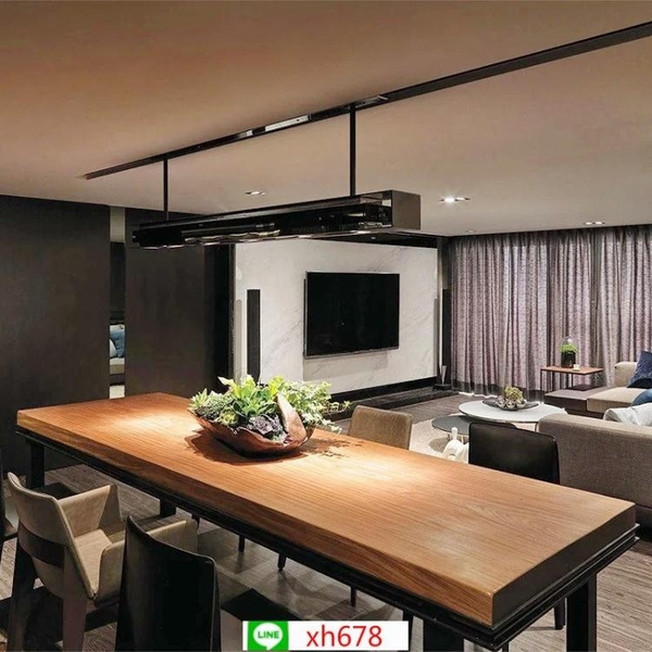 美式loft實木餐桌 家用小戶型長條餐桌椅組合客廳鐵藝吃飯桌子【頁面價格是訂金價格】