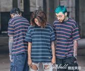 季新款寬鬆簡約撞色條紋男女學生情侶裝INS短袖T恤   蜜拉貝爾