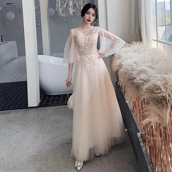 香檳色新款結婚伴娘禮服顯瘦裙