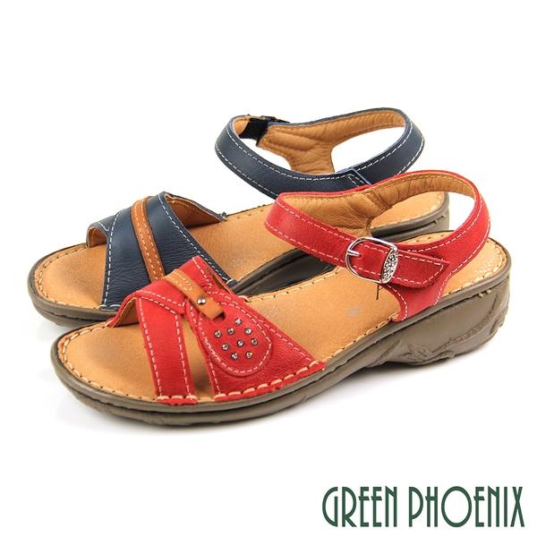 U60-25205 女款厚底涼鞋 台灣製素色水鑽沾黏式全真皮小坡跟厚底涼鞋【GREEN PHOENIX】