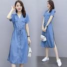 襯衫洋裝 牛仔連身裙女夏季2021年新款收腰顯瘦中長款氣質長裙輕熟風 8號店