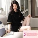 夏季薄款短袖可外穿家居服兩件套裝黑色睡衣女純棉【櫻桃菜菜子】