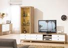 【森可家居】金美8尺L櫃(全組) 7ZX368-2 客廳高低櫃 視聽櫃 白色 木紋質感 無印風 北歐風