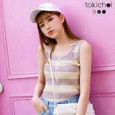 東京著衣-多色彈性舒適條紋針織背心(180859)