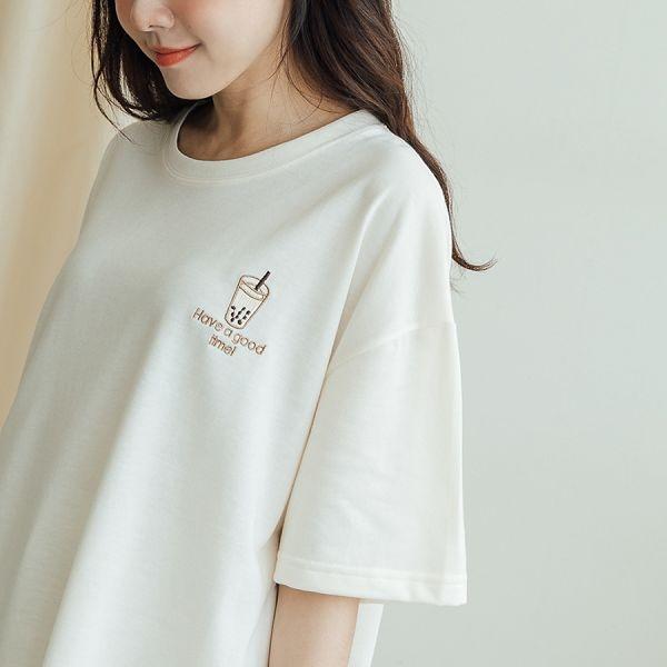 MIUSTAR 正韓-珍奶刺繡衛衣棉質上衣(共3色)【NJ0983RE】預購