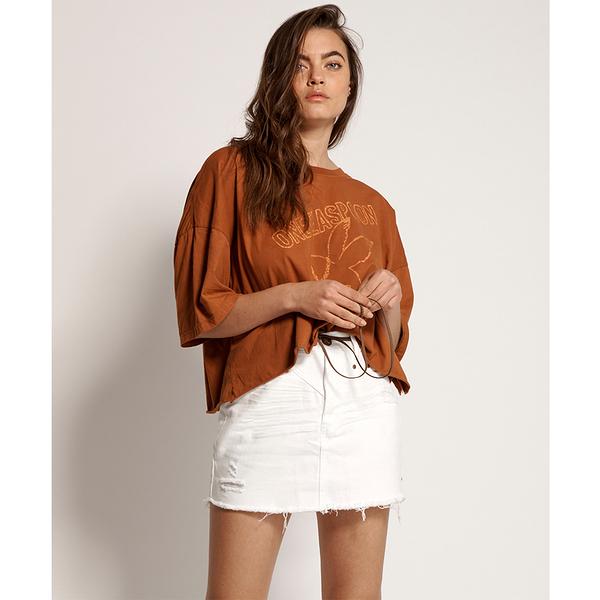 ONETEASPOON WHITE BEAUTY TRUCKER MID WAIST SKIRT 牛仔裙- 白(女)