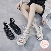 平底涼鞋女夏季新款小眾松糕厚底仙女法式羅馬鞋【大碼百分百】