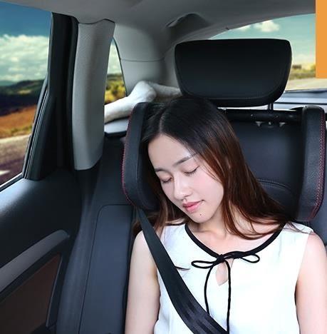 汽車頭枕側靠睡覺車用兒童安全頭枕寶馬護頸枕車椅車載真皮靠枕