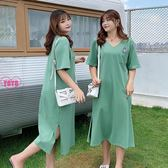 YOYO 中大尺碼連身裙 寬鬆顯瘦側開叉棉質中長裙(XL-3L)AH1064