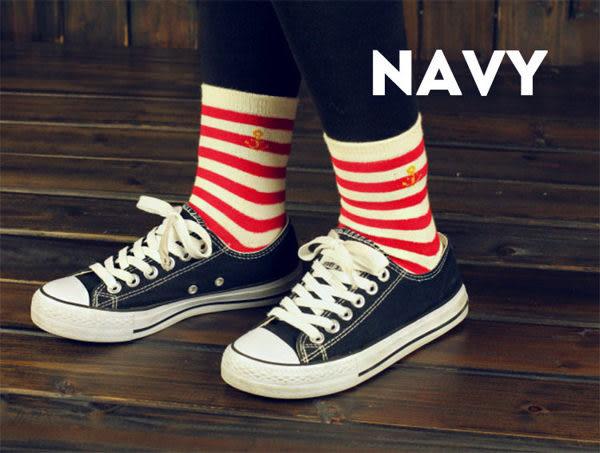 襪子   海軍條紋中筒襪  【FSW034】-收納女王