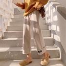 【Charm Beauty】毛呢闊腿褲 女秋冬 墜感 高腰 直筒 寬鬆 秋季 新款 九分 加厚 休閑褲子 長褲