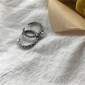 戒指 韓風做舊銀色麻花鏈條開口戒指2個珍珠簡約 莎瓦迪卡