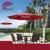 遮陽傘-紫葉中柱傘戶外遮陽傘花園太陽傘手搖傘庭院傘咖啡廳露臺桌椅傘YXS 夢娜麗莎