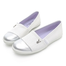 PLAYBOY 韓系小清新 皮革娃娃鞋-白(Y7210)