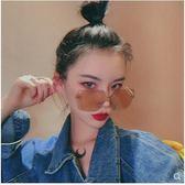 新款韓版復古無邊框墨鏡女Ins網紅素顏大框顯瘦太陽鏡綠色Ulzzang 滿天星