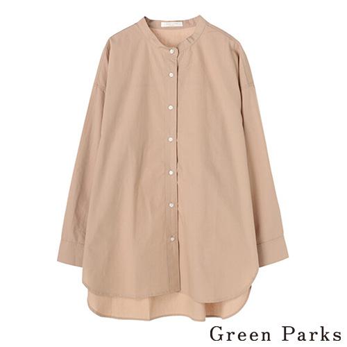 「Hot item」俐落圓領長版素面襯衫上衣 - Green Parks