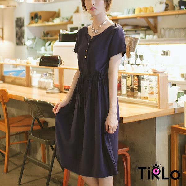 洋裝-Tirlo-純色棉麻綁繩修身洋裝-3色