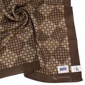 CalvinKlein 幾何紳士純棉帕巾(咖啡色)989091-5
