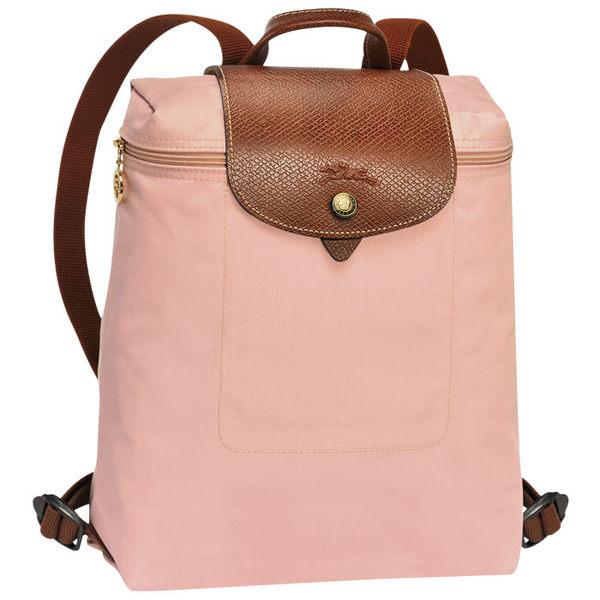 LONGCHAMP摺疊款 (玫瑰粉) 拉鍊後背包