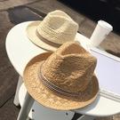 草帽 韓國新款親子拉菲草帽遮陽帽韓版男女兒童禮帽子沙灘防曬太陽帽夏