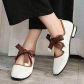 娃娃鞋復古方頭粗跟低跟粗帶單鞋女中跟淺口奶奶芭蕾舞鞋平底鞋休閒鞋 雲雨尚品