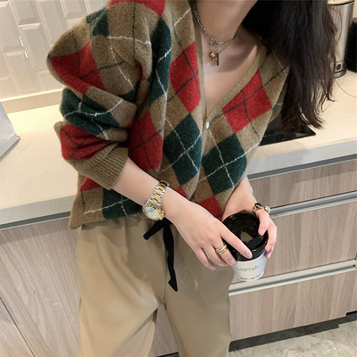 針織毛衣 長袖毛衣 秋冬外套格紋撞色寬松針織開衫女H5F-501.依品國際