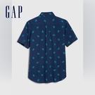 Gap男童創意印花角扣翻領短袖襯衫573758-藍色印花