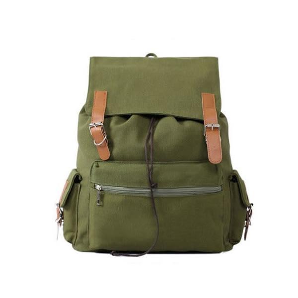 後背包-素面磁扣束口帆布後背包-共4色-6023- J II