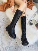 長靴 高筒靴女2018新款真皮及膝靴系帶長靴過膝瘦瘦靴平底網紅靴子女潮