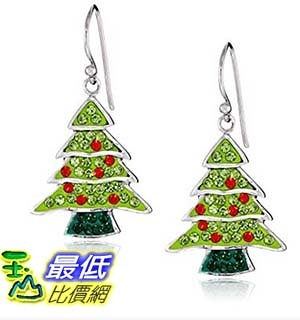 [美國直購] Silver Plated Crystal Christmas Tree Drop Earrings 耳環