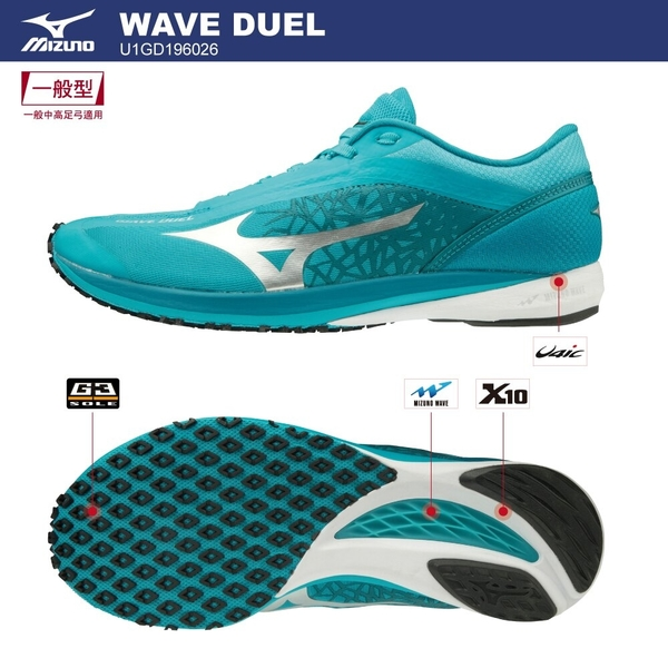 MIZUNO WAVE DUEL 男鞋 慢跑 路跑 一般型 耐磨 Drop 9mm 湖水藍【運動世界】U1GD196026