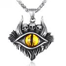 《 QBOX 》FASHION 飾品【CLHP150】精緻個性歐美風地獄之眼骷顱頭鑄造鈦鋼墬子項鍊/掛飾