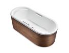 【麗室衛浴】美國 KOHLER  Lovee™ 獨立式木裙鑄鐵浴缸(帶扶手孔) K-99206T-GR-E63