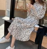 立領收腰設計波點雪紡洋裝 CC KOREA ~ Q27062