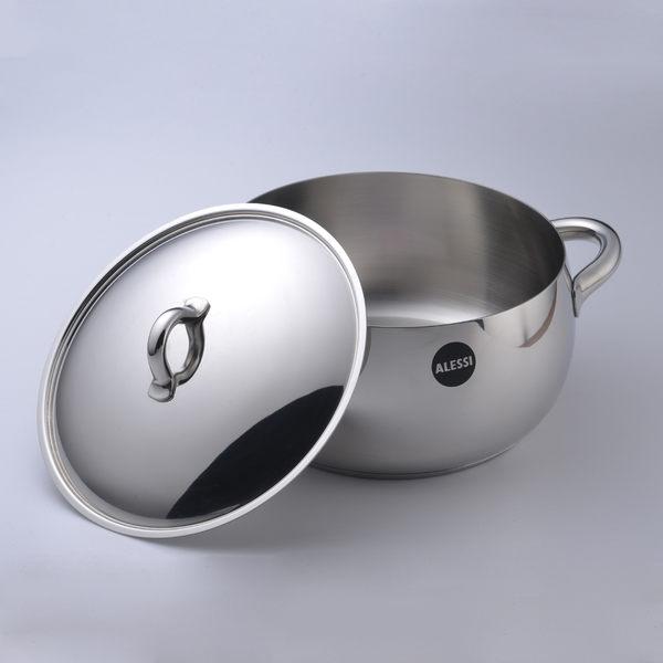 【義大利 Alessi】MAMI 媽咪鍋 不鏽鋼湯鍋 20cm (含鍋蓋)【Casa More美學生活】